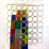 彩色藤编围巾架可折叠多多圈圈丝巾腰带领带架 28环 50个/箱