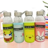 卡通创意带杯套玻璃杯 便携防漏透明布套水杯子 rabbite系列 300ml