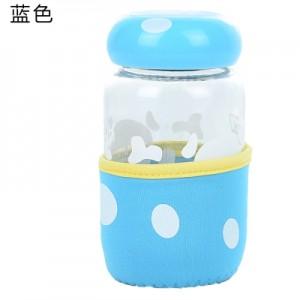 蘑菇杯随手杯创意便携玻璃杯迷你带盖带过滤茶杯 蓝色 80个/箱