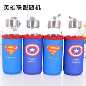 卡通带杯套玻璃杯 便携防漏透明布套水杯子 英雄联盟 300ml 100个/箱