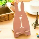 新款韩版越狱兔子木质手机支架 懒人手机架 粉色