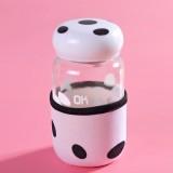 蘑菇杯随手杯创意便携玻璃杯迷你带盖带过滤茶杯 白色 84个/箱