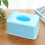 糖果色纸巾盒纯色纸巾抽塑料餐巾纸抽纸盒 蓝色