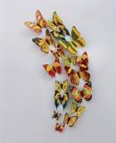 立体仿真蝴蝶冰箱贴塑料磁性墙贴室内装饰12只套装 彩色黄色