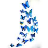 立体仿真蝴蝶冰箱贴塑料磁性墙贴室内装饰12只套装 彩色蓝色
