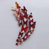立体仿真蝴蝶冰箱贴塑料磁性墙贴室内装饰12只套装 彩色大红色