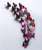 立体仿真蝴蝶冰箱贴塑料磁性墙贴室内装饰12只套装 彩色紫色