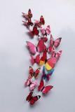 立体仿真蝴蝶冰箱贴塑料磁性墙贴室内装饰12只套装 彩色玫红色