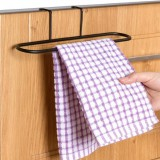 抹布挂架免打孔门背式挂架浴室免钉式可折叠钩毛巾杆 黑色