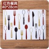 欧式防滑垫简约印花西餐垫PP塑料隔热碗垫防水垫子 餐具红色 500个/箱