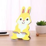 可爱卡通木质兔子手机座通用ipad手机支架 黄色 500个/箱