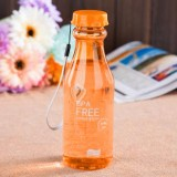 便捷密封防漏塑料水杯子带吸管摔不破汽水瓶 橙色 120个/箱
