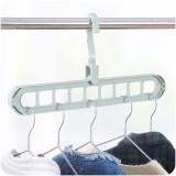 多功能九孔滑行衣架子魔术衣柜收纳晾晒衣服挂架挂钩 北欧绿 200个/箱