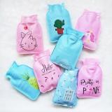 pvc热水袋小号充水暖水袋卡通可爱注水暖手宝 颜色随机
