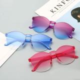 无框连体果冻透明太阳镜欧美糖果色男女墨镜眼镜