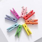 彩色木夹子 相片夹木质便签夹 相框小夹子 100个/包售  2.5cm