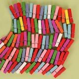 彩色木夹子 相片夹木质便签夹 相框小夹子 50个/包售 3.5cm
