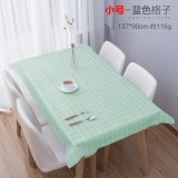 餐桌布防水PVC桌垫长方形小清新简约格子台布 小号蓝色