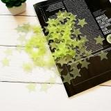 3CM夜光星星墙贴100pcs卧室荧光塑料3D装饰画PVC贴纸 黄色 600包/件