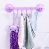 浴室强力吸盘挂钩 厨房卫生间无痕六连钩 6连钩 紫色 200个/箱
