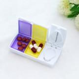 方形双彩盒带切片功能药盒 双格存储药盒