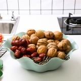 创意荷叶形水果盘塑料盘子糖果盘大号干果盘 北欧蓝 350个/箱