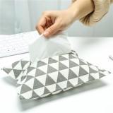 棉麻和风纸巾套纸抽袋 车载布艺抽纸盒纸巾包 灰色三角