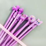 10支中性笔套装笔袋少女心文具水笔签字笔 紫色