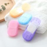 旅行一次性香皂纸片盒装便携洗手片小肥皂片 颜色随机