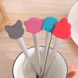 可爱卡通不锈钢长柄勺子餐具咖啡搅拌勺 颜色随机