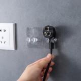 塑料透明强力无痕插头挂钩 粘钩插座电线支架 OPP袋装