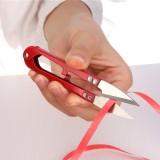 U型十字绣剪刀V形彩色纱剪线头弹簧小剪刀 红色