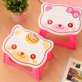 小猫便携式折叠板凳 加厚塑料卡通猫头椅子 颜色随机