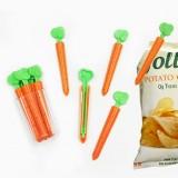 胡萝卜封口夹零食袋子密封夹冰箱贴 带磁铁收纳盒5支装
